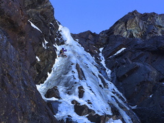 Rock Climbing Photo: Luke Lydiard leading the ice step on 5/23/17. Phot...