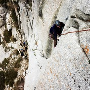 Rock Climbing Photo: Looking down the top of the second pitch.  I think...