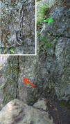 Rock Climbing Photo: A Sharp anchor re-positioned. Red arrow is the old...