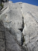 Rock Climbing Photo: Looking up the thin hand crack on Pitch 2 of Sunbl...