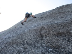 Rock Climbing Photo: Pitch 3 features slabby 5.8 with the bolts spaced ...