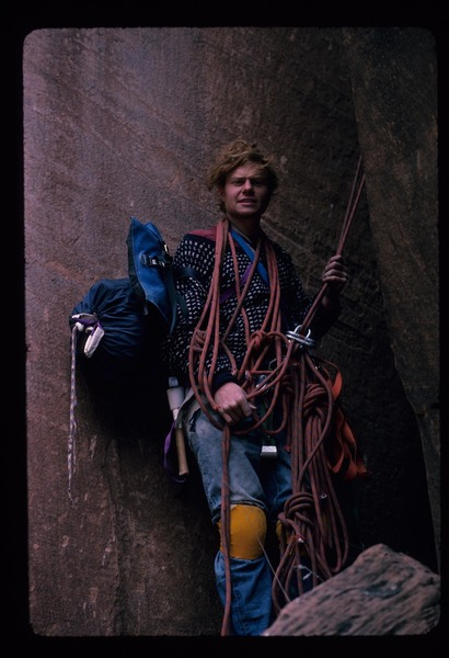 Rock Climbing Photo: 1975, Doug Rodda with chopped ropes on an aborted ...