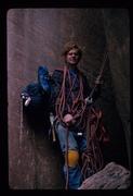 Rock Climbing Photo: 1975, Doug Rodda with chopped ropes on an aborted ...