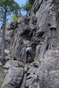 Rock Climbing Photo: Unknown climber starting second section (from 1st ...