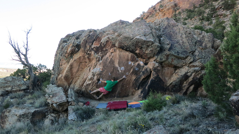 Rock Climbing Photo: Sticking the first move to the pocket.