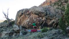Rock Climbing Photo: Making the jump to the platform. Pretty damn fun!