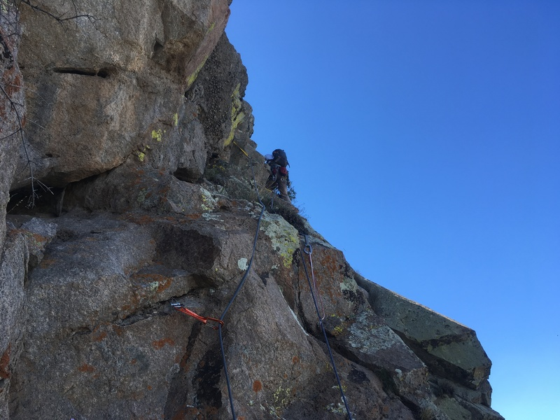 Rock Climbing Photo: Marc Tarnosky leading P5. The crux sections of the...