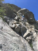 Rock Climbing Photo: Marta Reece climbing up P2, as viewed from the P1 ...