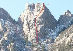 Rock Climbing Photo: Rough topo of the route, as viewed from a borrowed...