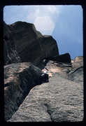 Rock Climbing Photo: April 1975....bellbottom jeans and homemade harnes...