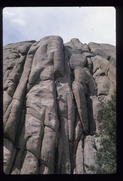 1975, climbers on Turkey Shoot.