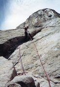 Rock Climbing Photo: Dano on first pitch on nose around 1982 photo by J...