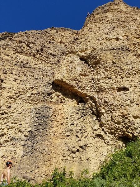 Blake nearing the top of Early Bird Arete