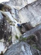 Rock Climbing Photo: Duncan leading the corner on Birds of Prey Pitch 3...