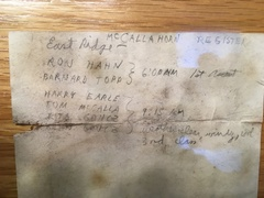 Rock Climbing Photo: Record of the first ascent of Low Horn 4, as noted...