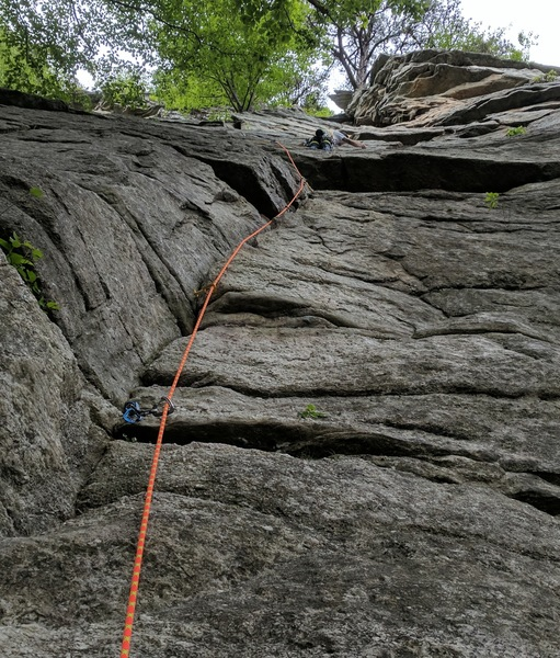 Rock Climbing Photo: Pawel getting up Bunny after going left around the...