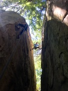 Rock Climbing Photo: Stem'ing to the top of Doghouse