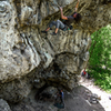 "Me at the crux move on ""Snaked""