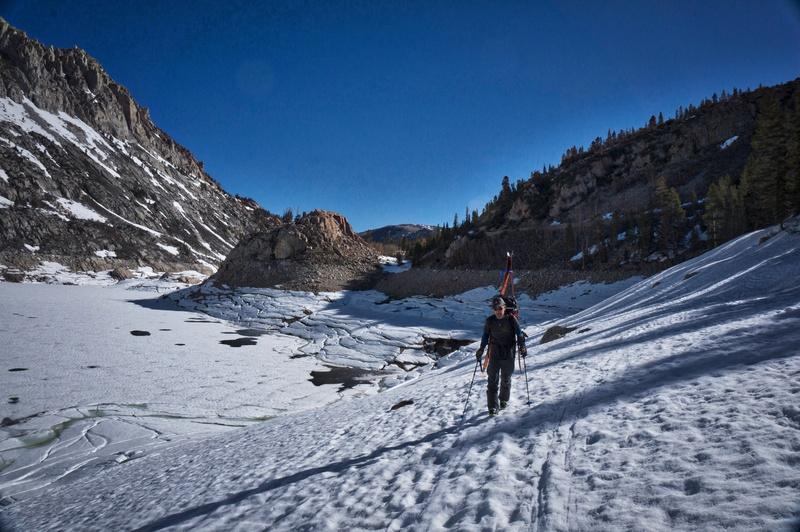 Rock Climbing Photo: Scott Nomi skirts the side of South Lake.
