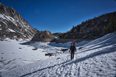 Rock Climbing Photo: Scott Nomi skirts the side of South Lake.