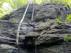 Rock Climbing Photo: Steeper trad variation slinging the tree for PG13 ...
