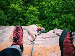 Rock Climbing Photo: Jim Hoste lay backing on the second pitch of Gelsa...