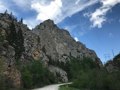Rock Climbing Photo: Powerline buttress from parking area.