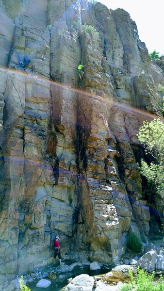 "Rock Climbing Photo: Tim III on ""Worth The Wade,"" 5.7"