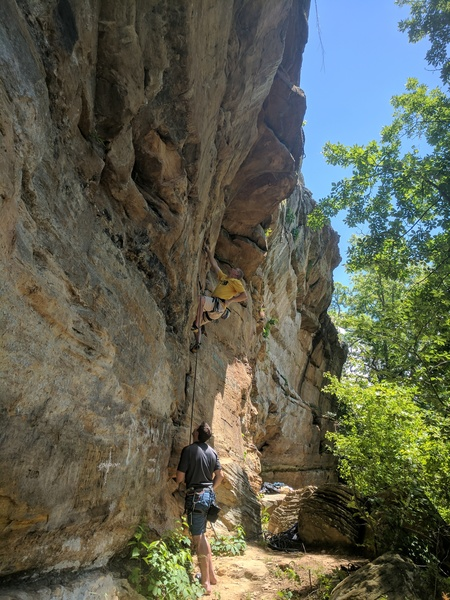 Rock Climbing Photo: Rob makes the big move to the good ledge from the ...
