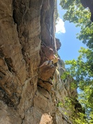 Rock Climbing Photo: Rob uses the big ledges to pull through the big ro...
