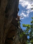 Rock Climbing Photo: Rob soaks up a no-hands rest off a double kneebar ...