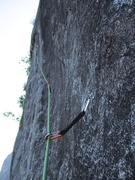 Rock Climbing Photo: Looking across 10d the bolted face on the first ha...