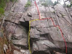 Rock Climbing Photo: Original start in (red line) to the right. New, so...
