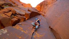 Rock Climbing Photo: Climber starting up Dirty Girl.