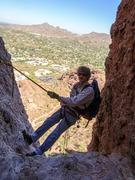 Rock Climbing Photo: Dano starting to rappel the Ice Box down the Headw...