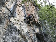 Rock Climbing Photo: Fallon, on the Funny Face at Rifle Mountain Park.