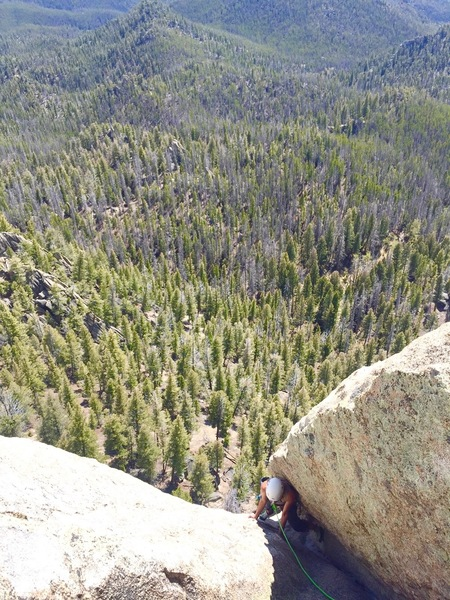 Rock Climbing Photo: Scuffling up the third pitch on the Southwest Face...