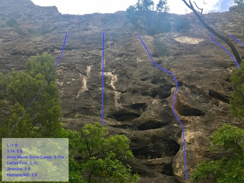 A close look at the slab routes, identifiable from afar by the water streaks and the big white patch underneath a tree.
