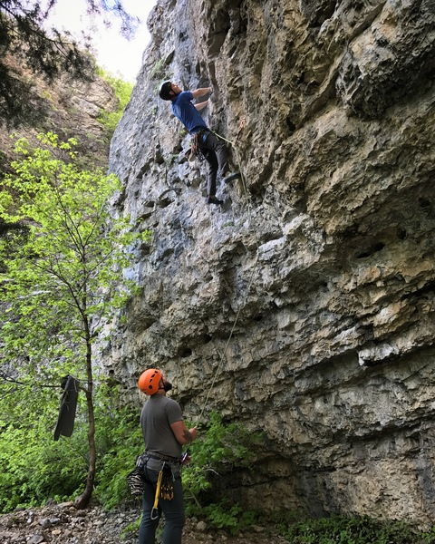 Rock Climbing Photo: Just past the steep beginning of Suicide Blonde