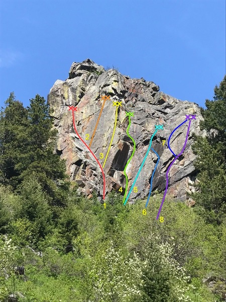 Southwest face of Practice Rock