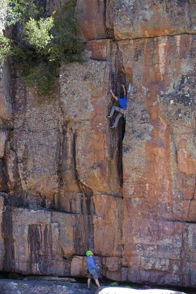 Bob Petit on his route, a pleasure to climb. Charlie A on belay.