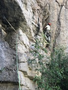 Rock Climbing Photo: Traversing in to avoid the poison ivy at the base ...