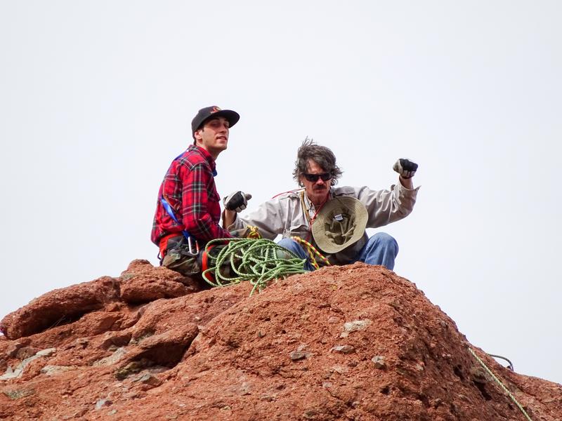 Rock Climbing Photo: Kyle, Dano top of Praying Monk, Photo by Richard