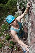 Rock Climbing Photo: Joseph nearing the top of Orgasm
