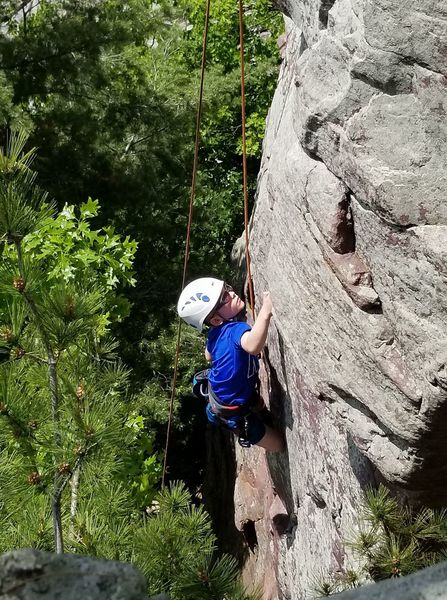 Logan climbing Vacillation (Photo by Pam Harmon)