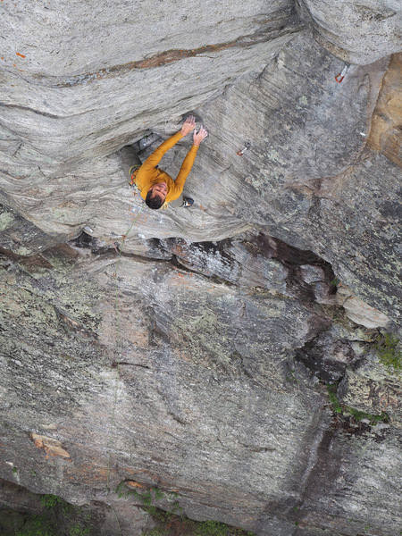 The steep upper corner of Backcountry Brawl (5.11c), Devil's Washdish. This pitch overhangs by 10'.