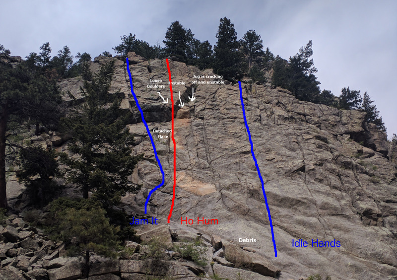 Boulderado after 2017 rockfall and scaling.