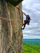 Rock Climbing Photo: The scenic traverse at the start of P2 of Dog-Stic...