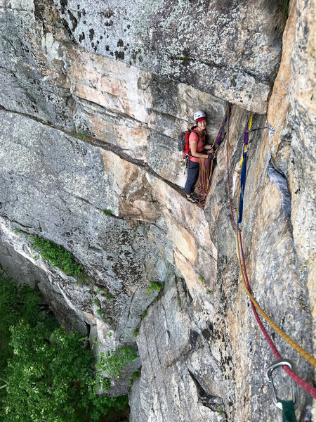 Rock Climbing Photo: Looking back at the belay after the traverse at th...