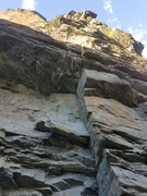 Rock Climbing Photo: pull through roof and follow crack system until it...